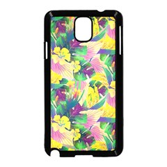 Tropical Flowers And Leaves Background Samsung Galaxy Note 3 Neo Hardshell Case (Black)