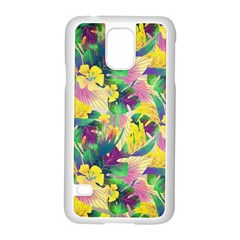 Tropical Flowers And Leaves Background Samsung Galaxy S5 Case (White)