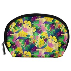 Tropical Flowers And Leaves Background Accessory Pouches (Large)