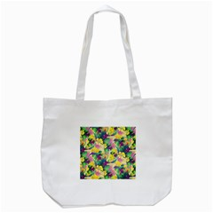 Tropical Flowers And Leaves Background Tote Bag (White)