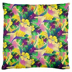 Tropical Flowers And Leaves Background Large Flano Cushion Case (One Side)