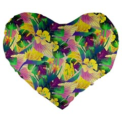 Tropical Flowers And Leaves Background Large 19  Premium Flano Heart Shape Cushions