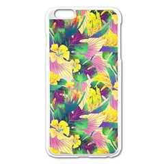 Tropical Flowers And Leaves Background Apple iPhone 6 Plus/6S Plus Enamel White Case