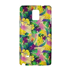 Tropical Flowers And Leaves Background Samsung Galaxy Note 4 Hardshell Case