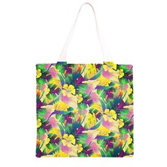 Tropical Flowers And Leaves Background Grocery Light Tote Bag