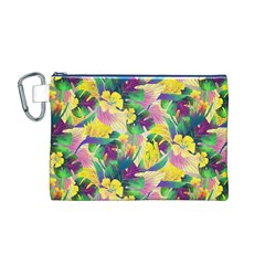 Tropical Flowers And Leaves Background Canvas Cosmetic Bag (M)