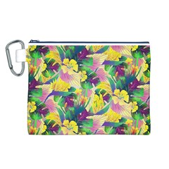 Tropical Flowers And Leaves Background Canvas Cosmetic Bag (L)
