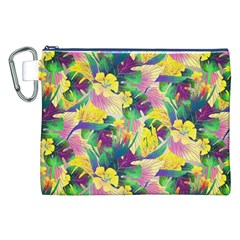 Tropical Flowers And Leaves Background Canvas Cosmetic Bag (XXL)