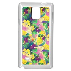 Tropical Flowers And Leaves Background Samsung Galaxy Note 4 Case (White)