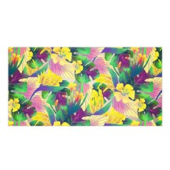 Tropical Flowers And Leaves Background Satin Shawl