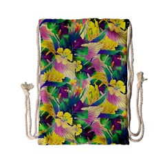 Tropical Flowers And Leaves Background Drawstring Bag (Small)