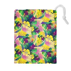 Tropical Flowers And Leaves Background Drawstring Pouches (Extra Large)