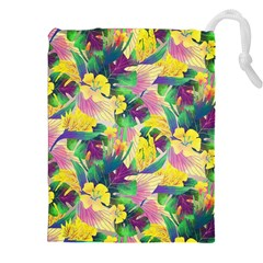 Tropical Flowers And Leaves Background Drawstring Pouches (XXL)