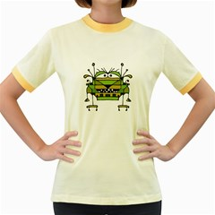 Worried Robot Character Illustration Women s Fitted Ringer T-Shirts