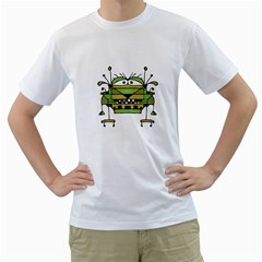 Worried Robot Character Illustration Men s T-Shirt (White) (Two Sided)