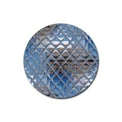 Mirrored Glass Tile Urban Industrial Rubber Round Coaster (4 pack)