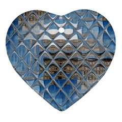 Mirrored Glass Tile Urban Industrial Heart Ornament (2 Sides)