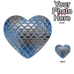 Mirrored Glass Tile Urban Industrial Multi Purpose Cards (heart)