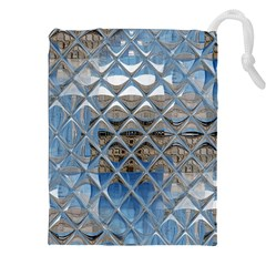Mirrored Glass Tile Urban Industrial Drawstring Pouches (XXL)