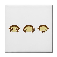 Three Wise Monkeys Tile Coasters
