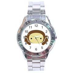 Three Wise Monkeys Stainless Steel Analogue Watch