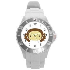 Three Wise Monkeys Round Plastic Sport Watch (L)