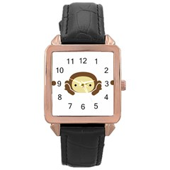 Three Wise Monkeys Rose Gold Leather Watch