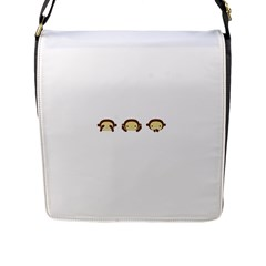 Three Wise Monkeys Flap Messenger Bag (L)
