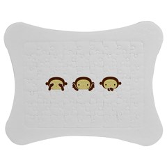 Three Wise Monkeys Jigsaw Puzzle Photo Stand (Bow)