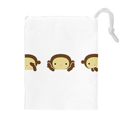 Three Wise Monkeys Drawstring Pouches (Extra Large)