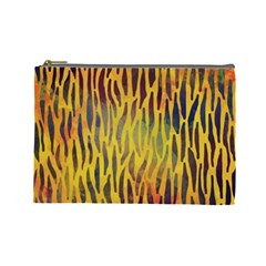 Colored Tiger Texture Background Cosmetic Bag (Large)
