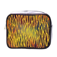 Colored Tiger Texture Background Mini Toiletries Bags