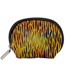 Colored Tiger Texture Background Accessory Pouches (Small)