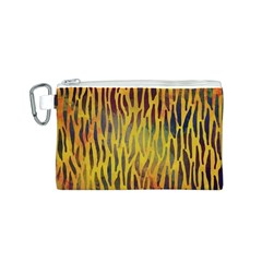 Colored Tiger Texture Background Canvas Cosmetic Bag (S)