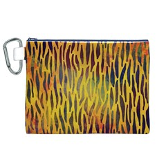 Colored Tiger Texture Background Canvas Cosmetic Bag (XL)