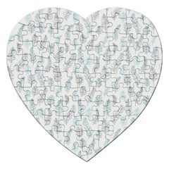 Whimsical Feather Pattern Dusk Blue Jigsaw Puzzle (Heart)