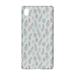 Whimsical Feather Pattern Dusk Blue Sony Xperia Z3+ Hardshell Case