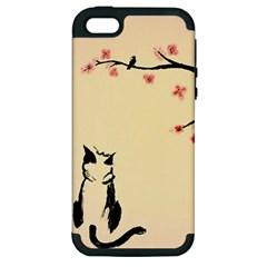 Luck And Patience Cat  Apple iPhone 5 Hardshell Case (PC+Silicone)