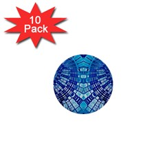Blue Mirror Abstract Geometric 1  Mini Buttons (10 pack)