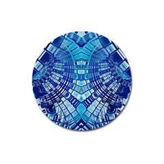 Blue Mirror Abstract Geometric Magnet 3  (Round)