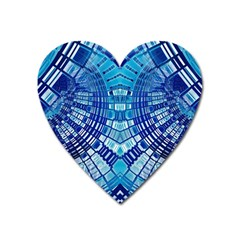 Blue Mirror Abstract Geometric Heart Magnet