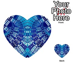 Blue Mirror Abstract Geometric Multi-purpose Cards (Heart)