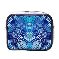 Blue Mirror Abstract Geometric Mini Toiletries Bags