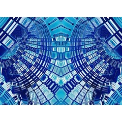 Blue Mirror Abstract Geometric Birthday Cake 3D Greeting Card (7x5)