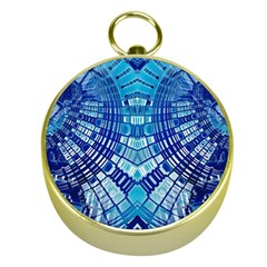 Blue Mirror Abstract Geometric Gold Compasses