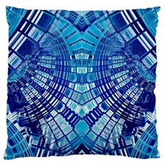 Blue Mirror Abstract Geometric Standard Flano Cushion Case (Two Sides)