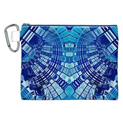 Blue Mirror Abstract Geometric Canvas Cosmetic Bag (XXL)