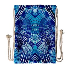 Blue Mirror Abstract Geometric Drawstring Bag (large)