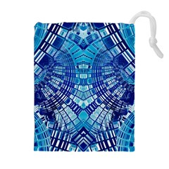 Blue Mirror Abstract Geometric Drawstring Pouches (extra Large)