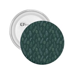 Whimsical Feather Pattern, Forest Green 2.25  Button